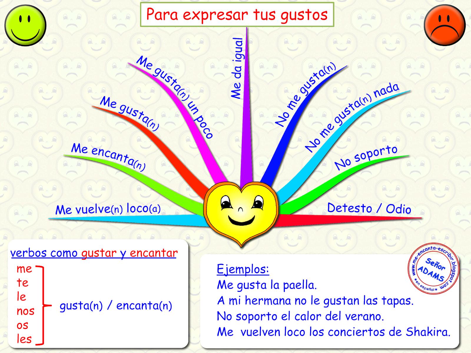 Me Encanta Escribir En Espanol Para Expresar Los Gustos Gustar Y Encantar