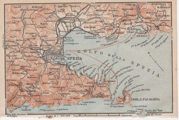 1928 La Spezia Italy Antique Map Gulf Of La Spezia