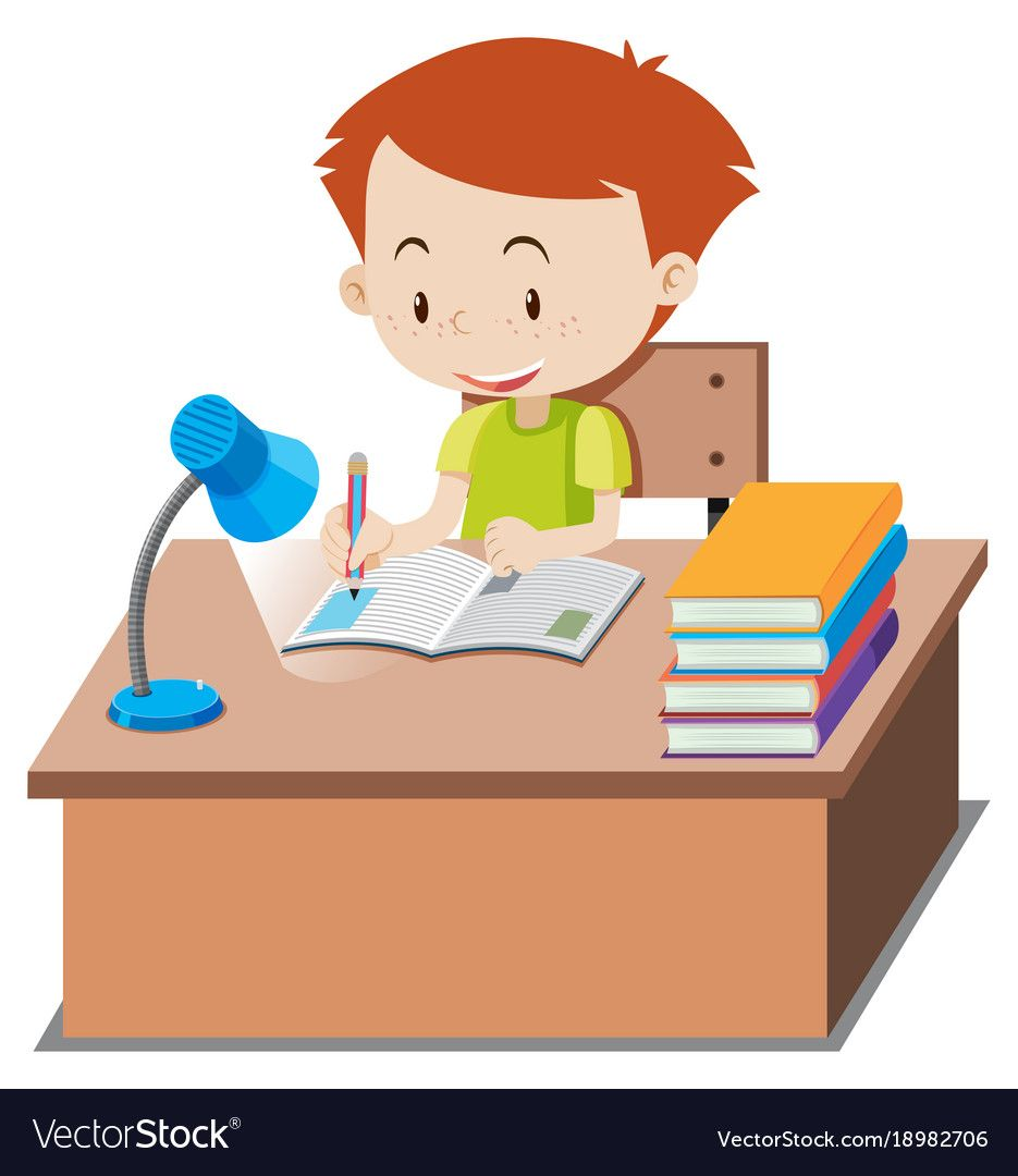 Little Boy Doing Homework On Table Illustration Download A Free Preview Or High Quality Adobe Illustrator Ai Do Homework Cute Cartoon Pictures Kids Homework