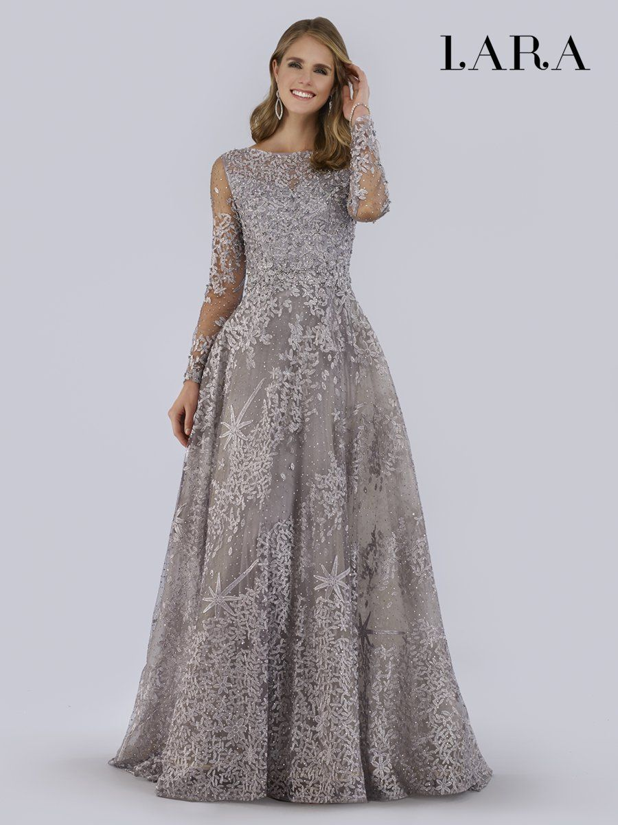Lara Dresses 29759 Beaded Foliage Embroidered Illusion A Line Gown Long Sleeve Ball Gowns Ball Gowns Lace Ball Gowns [ 1200 x 900 Pixel ]