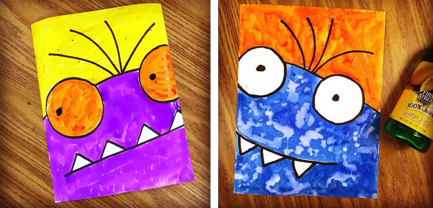 draw a monster super close up style simple paintings monsters