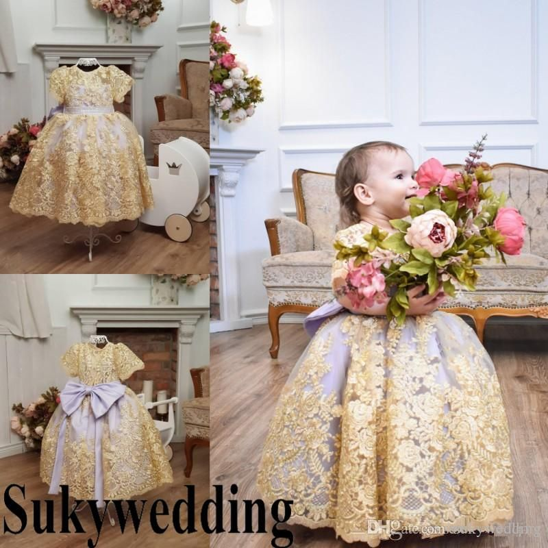 c9eed630640 2019 Gold Lace Ball Gown Flower Girl Dresses For Weddings Short Sleeves  Girls Pageant Gowns With