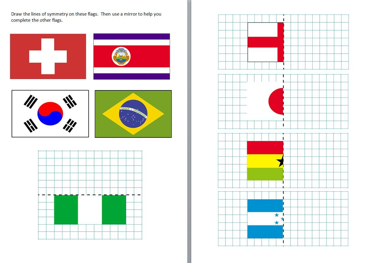 Differentiated Symmetry Worksheets Featuring Some Of The Flags Of The Countries From The