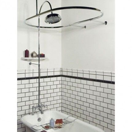 Art Deco Tile Tub Surround With Oval Shower Curtain