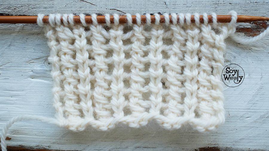 Punto Calado Vertical en dos vueltas (tricot, dos agujas, calceta ...