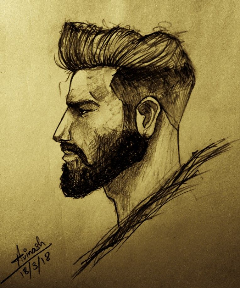 Man Face Side Part Man Sketches Side Face Drawing Face Sketch Beard Drawing