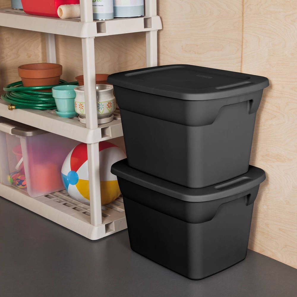 Plastic Storage Container Stackable Box 18 Gallon Tote Case Bin Black 8/Set  #Sterilite