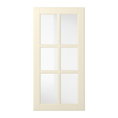 IKEA - BODBYN, Vitriiniovi, 40x80 cm, luonnonvalkoinen, , BODBYN-oven kehys ja kauniit viistetyt reunat peiliosassa edustavat selkeästi perinteistä tyyliä. Kermansävyinen luonnonvalkoinen tuo keittiöön vaaleutta ja lämpöä.Lakatut ovet ovat sileäpintaiset ja saumattomat, hylkivät likaa ja kosteutta ja ovat helpot puhdistaa.25 vuoden takuu. Lisätietoja ja takuuehdot takuuvihkosessa.Oven voi asentaa oikea- tai vasenkätiseksi.