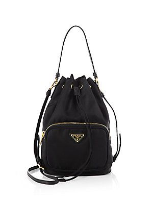 3e363ffa37 Prada Tess Drawstring Nylon Pouch Crossbody Bag