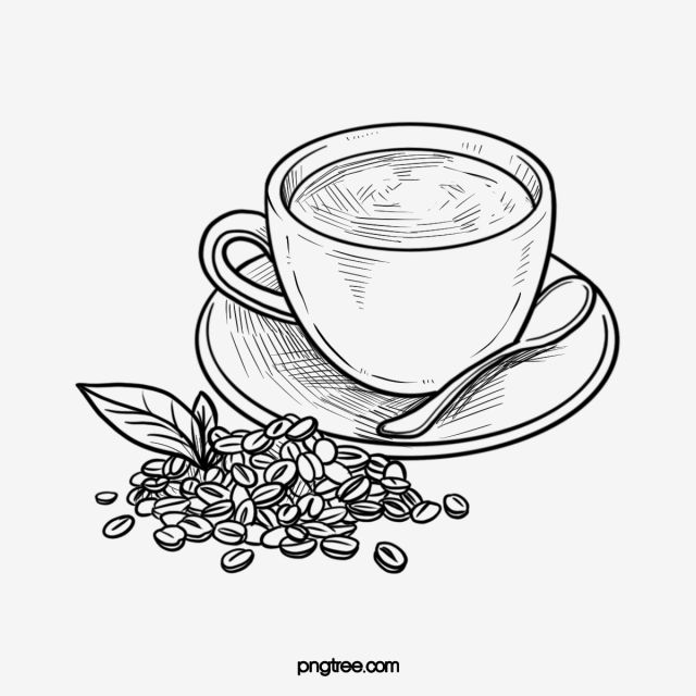 Coffee Bean Black And White Lineart Coffee Cup Cup Clipart Coffee Mug Black And White Png Transparent Clipart Image And Psd File For Free Download Coffee Illustration Coffee Drawing Coffee Cup