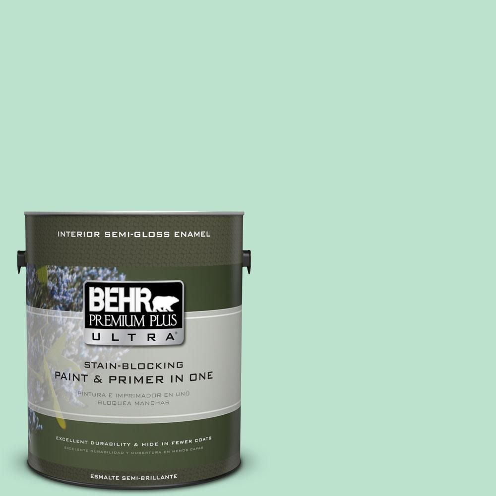 BEHR Premium Plus Ultra 1-gal. #P410-2 Spearmints Semi-Gloss Enamel Interior Paint