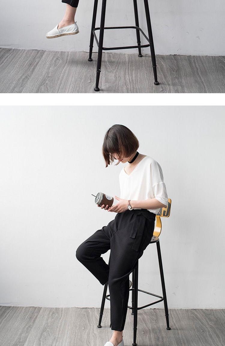 搭配腰带 前面开叉设计的黑色哈伦裤子 休闲女装九分裤夏款-淘宝网