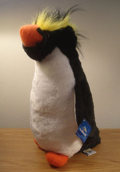 Seaworld 15 Plush Rockhopper Penguin Large Soft Stuffed Animal Bird