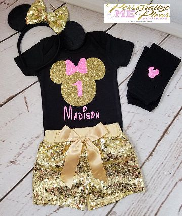 Minnie Mouse 2nd Birthday Outfit  Red /& Black  Disney Princess  Sequin Shorts  Second Birthday  Glitter  Shine  Sparkle  Cake Smash