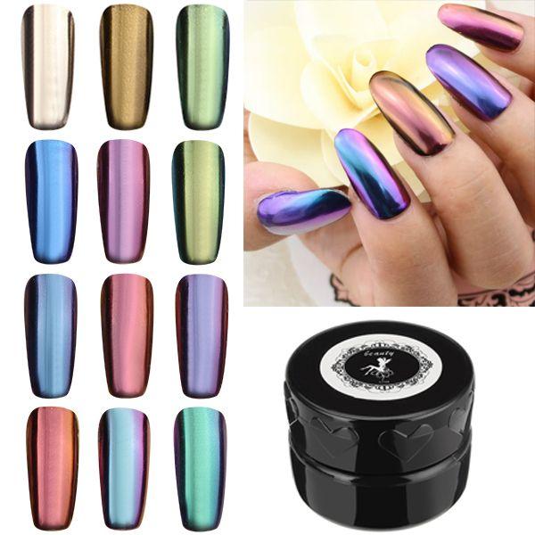 12 colores espejo mágico polvo de efecto cromado metálico fijado ...