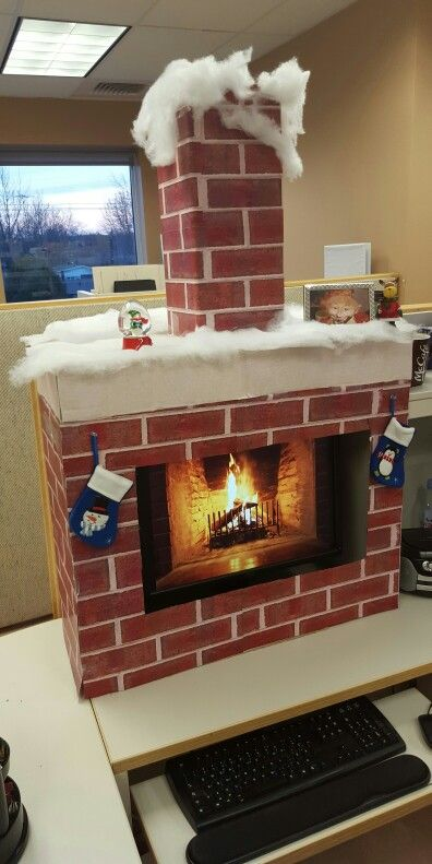 Chimney Christmas Decorations christmas office cubicle fireplace | noël | pinterest | office