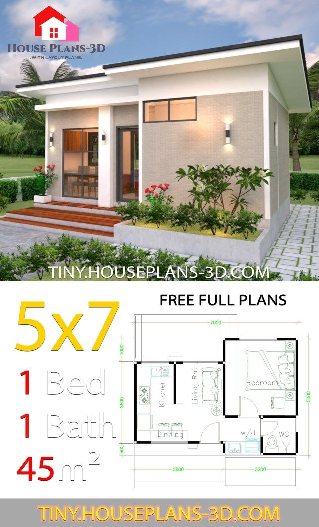 Small House Design Plans 5x7 With One Bedroom Shed Roof Tiny House Plans Small House Design Plans One Bedroom House Plans 1 Bedroom House Plans
