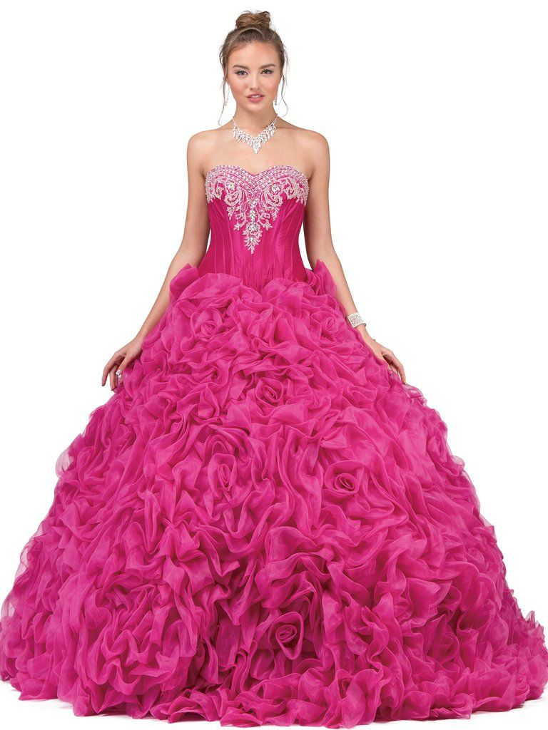 f7bef5fea02 Fuchsia Strapless Ruffled Ball Gown by Dancing Queen 8650-Dancing Queen-ABC  Fashion