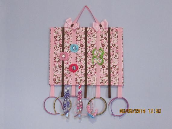 Hair bow, jewelry and head band holder or organizer Pink & brown flower all over 16X20