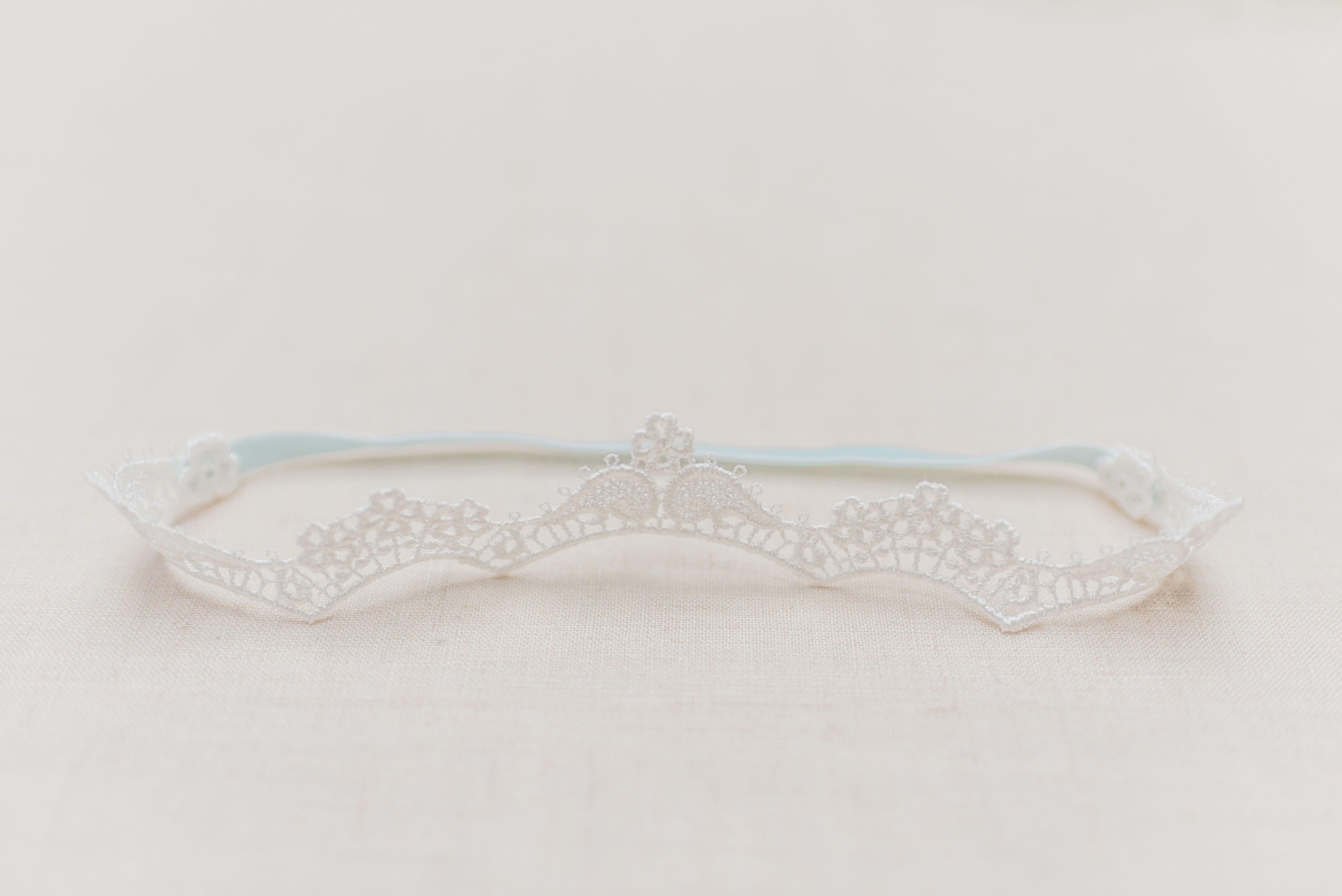 Dainty lace garter wedding garter set something blue
