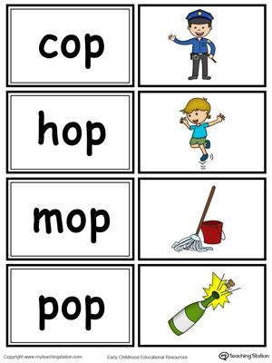 Word Sort Game Op Words In Color Word Sorts Word Family Worksheets Phonics Flashcards
