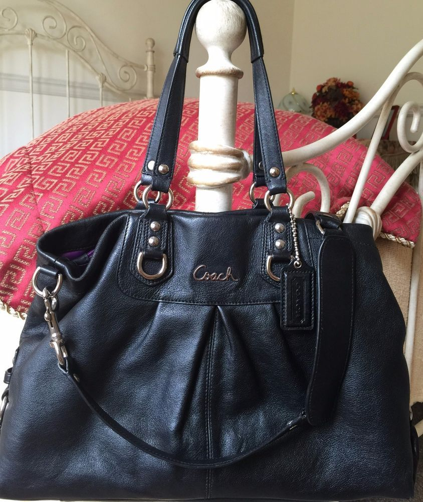 027295dde5a2f Authentic Coach Ashley Black Leather Carry All Satchel Handbag Purse F15513   398  Coach  Satchel