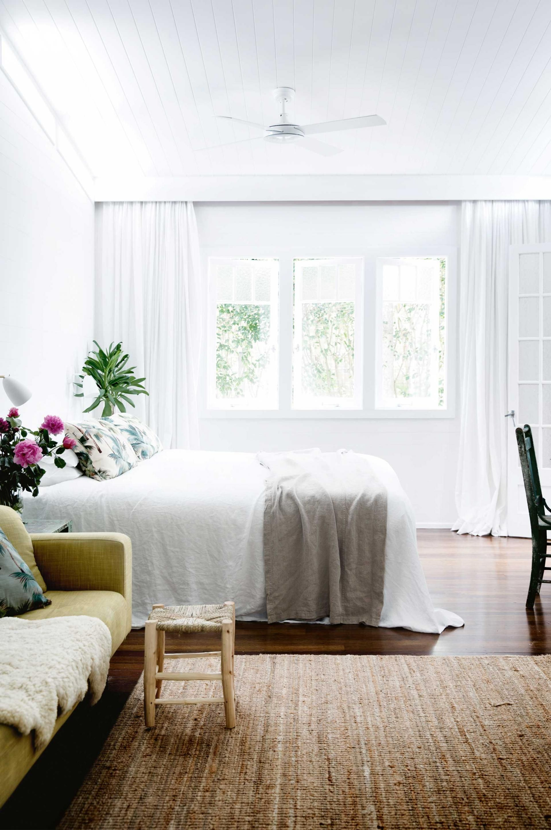 Room white bedroom curtains fan jute rug Lowry home nov15 GORW