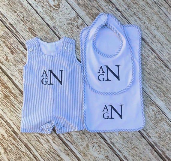 Photo of Seersucker Gift Set  Baby Boy Layette, Monogram Baby Bib, Monogram Burp Cloth, Monogram Seersucker Jon Jon