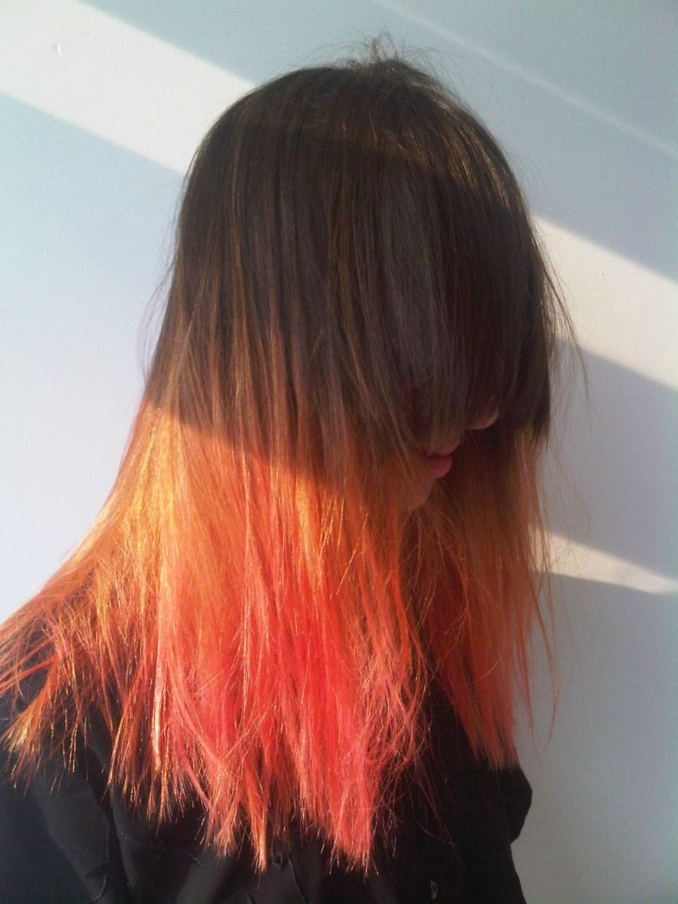 Natural to orange ombre hair want pinterest bleach london