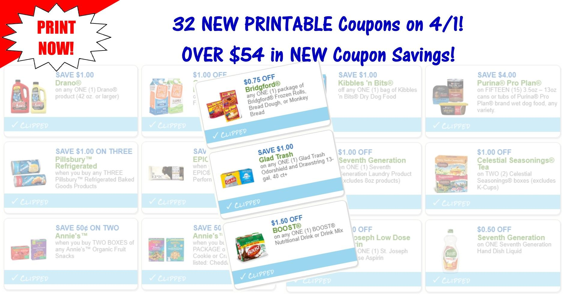 32 NEW Printable Coupons NEW April 1st Coupons! Print