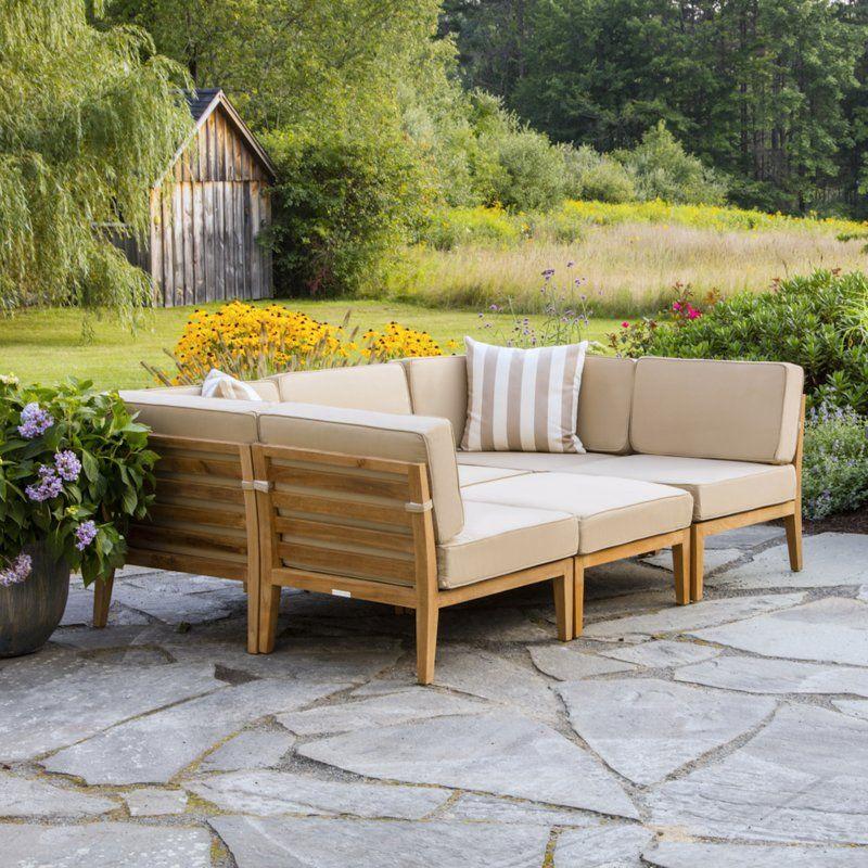 Bali Teak Patio Sectional With Cushions Patio Sectional Teak Patio Furniture Outdoor Patio Table
