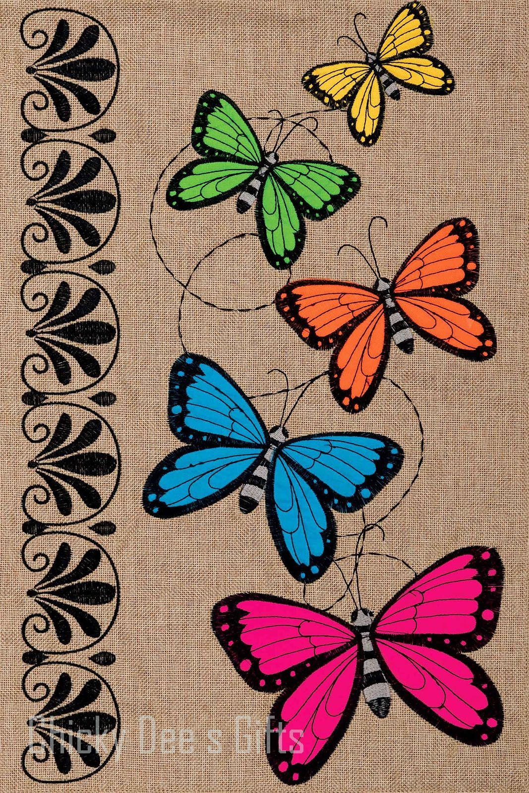Custom Décor Burlap Garden Flag BUTTERFLY RAINBOW | Garden Flags ...