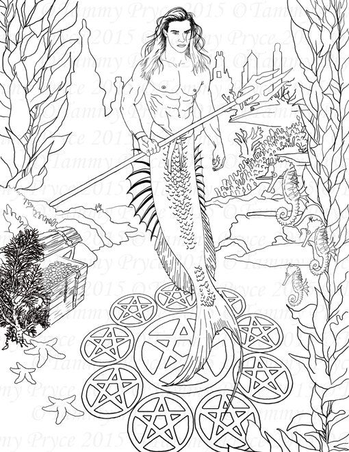 Fantasy Merman Adult Coloring Page Digi Stamp Instant Download ...