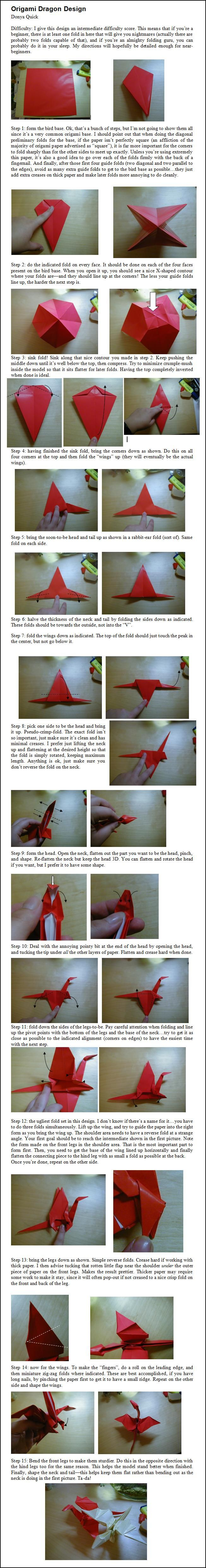 Origami Dragon Instructions By Donyaquick On Deviantart 3d Peacock Diagram Stick Tail Koi