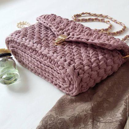 купить вязаную сумку из трикотажной пряжи