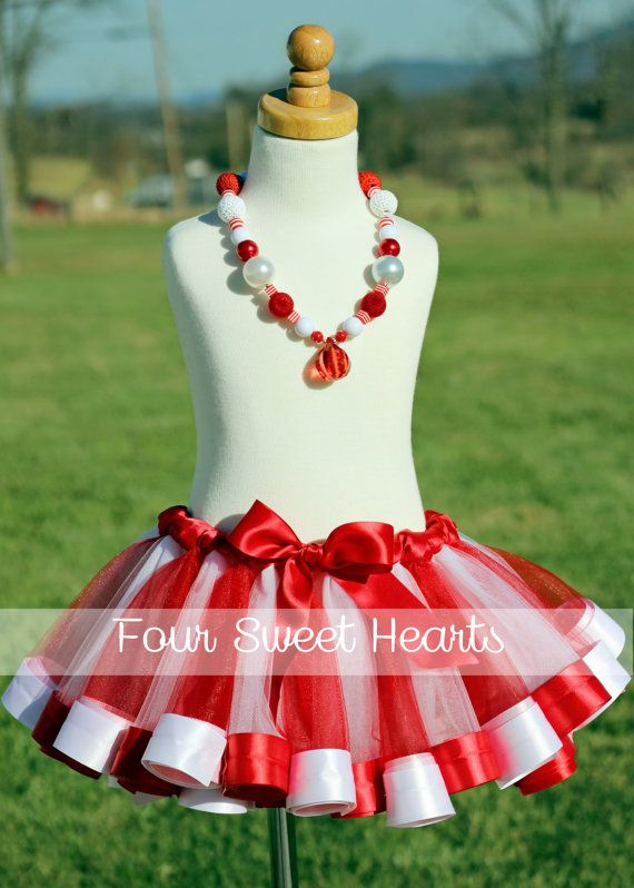 Candy Cane Tutu with Satin Trim.  Perfect for birthday parties, photos and dress up!