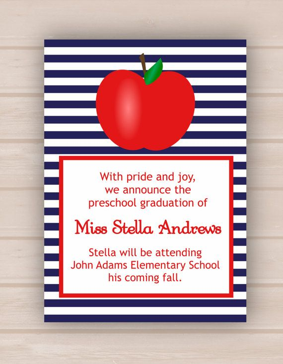 Printable red apple preschool or kindergarten graduation invitation items similar to printable red apple preschool or kindergarten graduation invitation on etsy filmwisefo Image collections