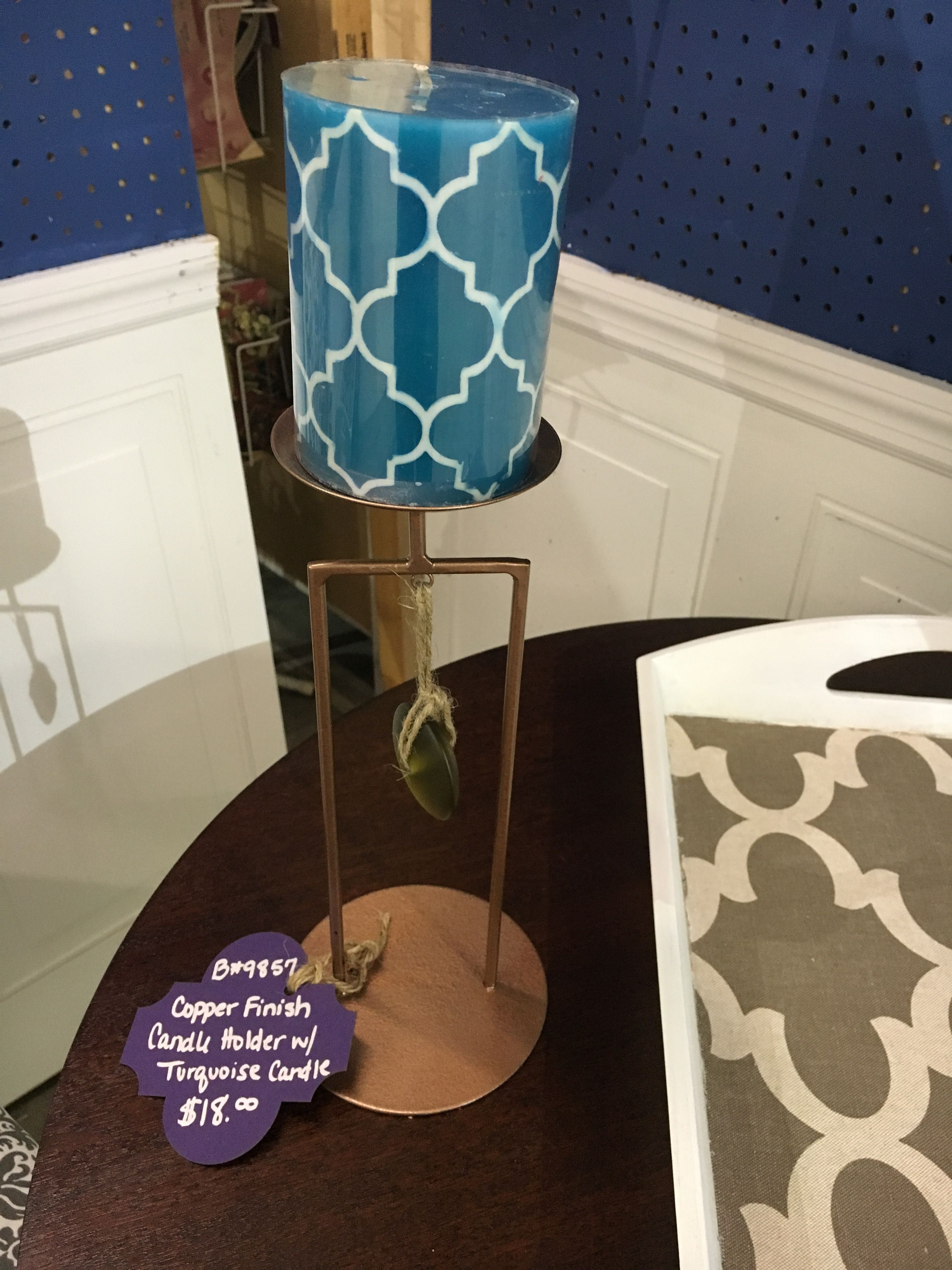 Candle holder with Decorated Candle - $12.00