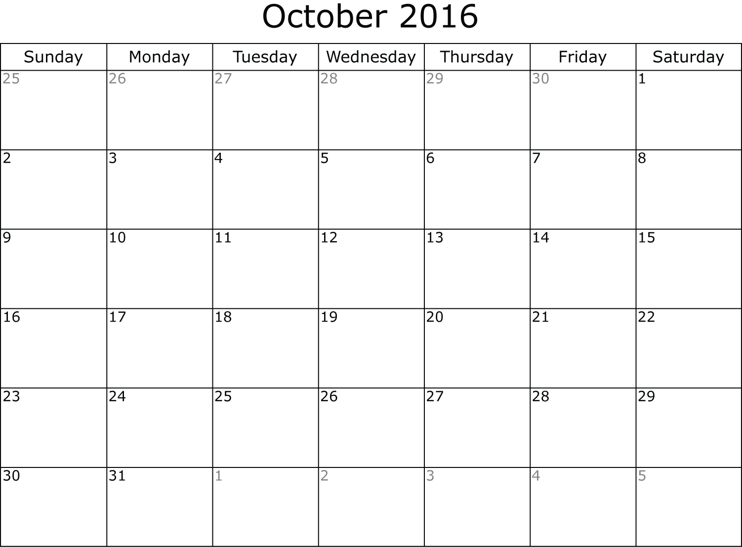 one month calendars