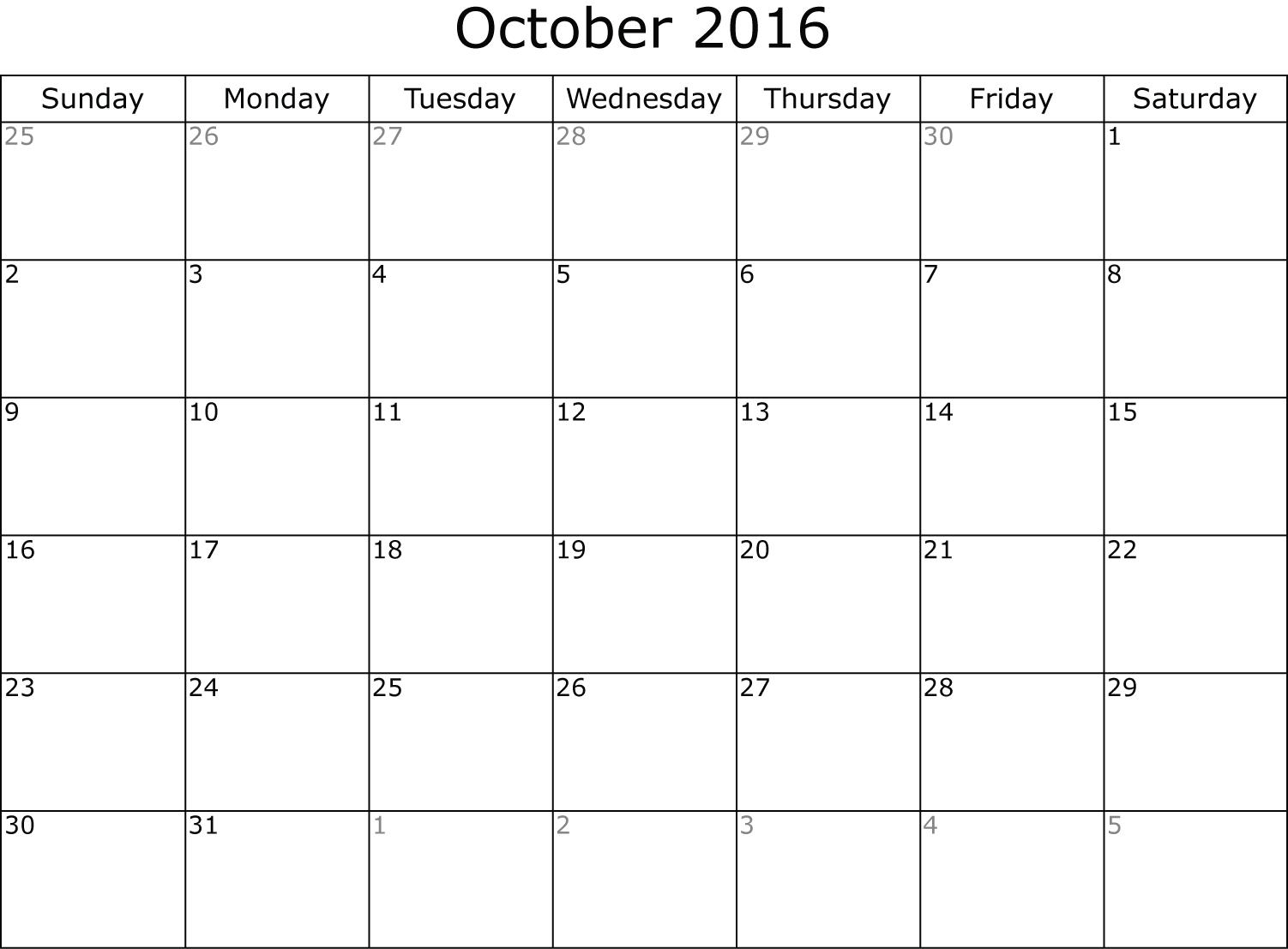 Calendar October 2016 | 2016 October Calendar | Pinterest ...