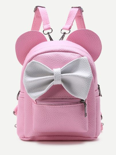b8f5be213fba Shop Pink Ear Shaped PU Backpack With Contrast Bow online. SheIn offers  Pink Ear Shaped PU Backpack With Contrast Bow   more to fit your  fashionable needs.