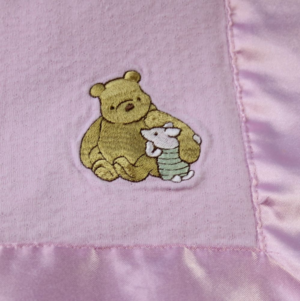 0cafc72eed13 Disney Store Winnie the Pooh Piglet Baby Blanket Cotton Pink Satin ...