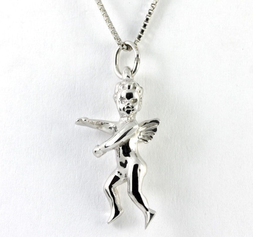 14k white gold cherub cupid love angel pendant charm aloadofball Image collections