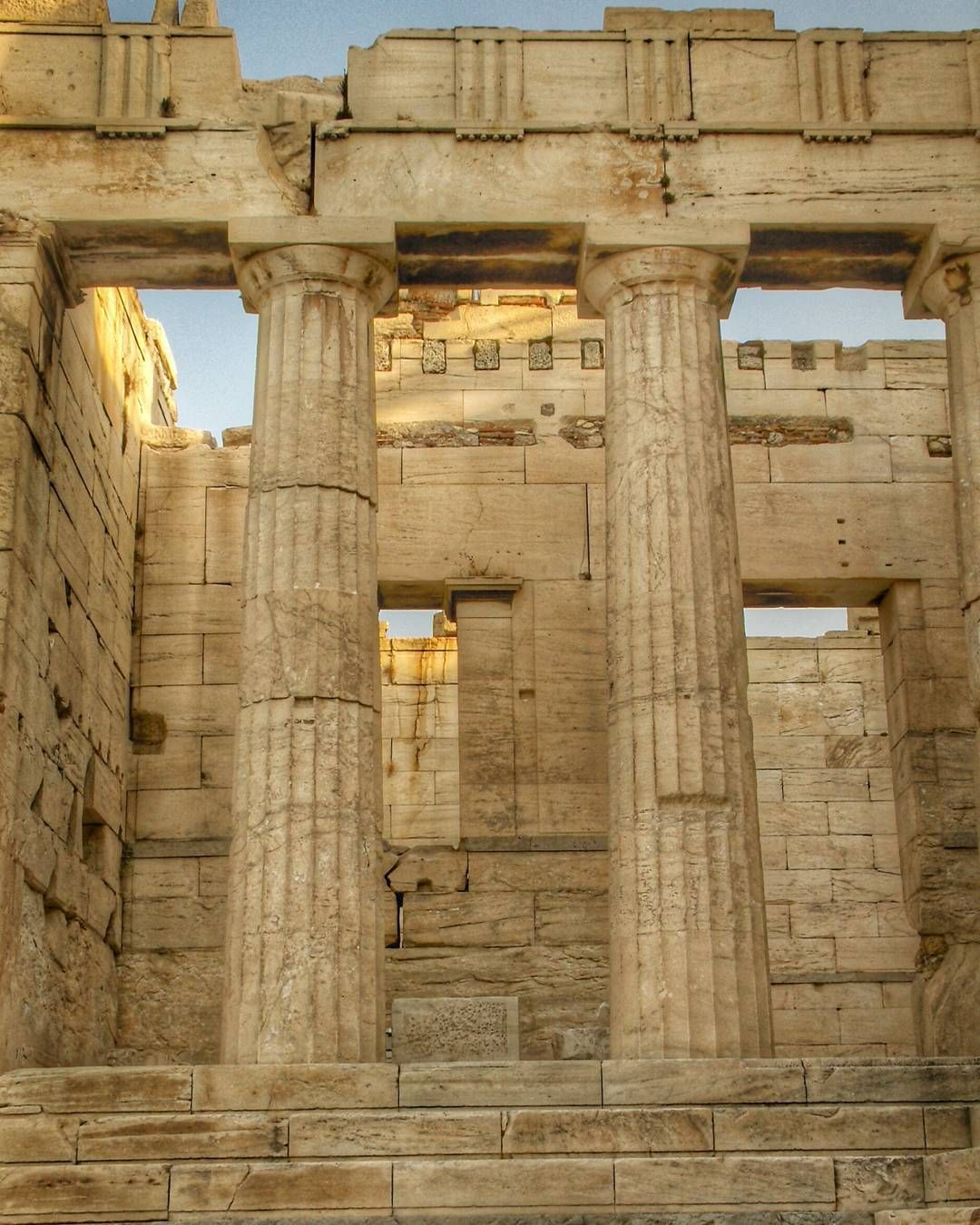 The Propylaia the grand entrance gate to the Acropolis built after the Parthenon in 437 BCE. Athens Greece. by postcardsandpassports
