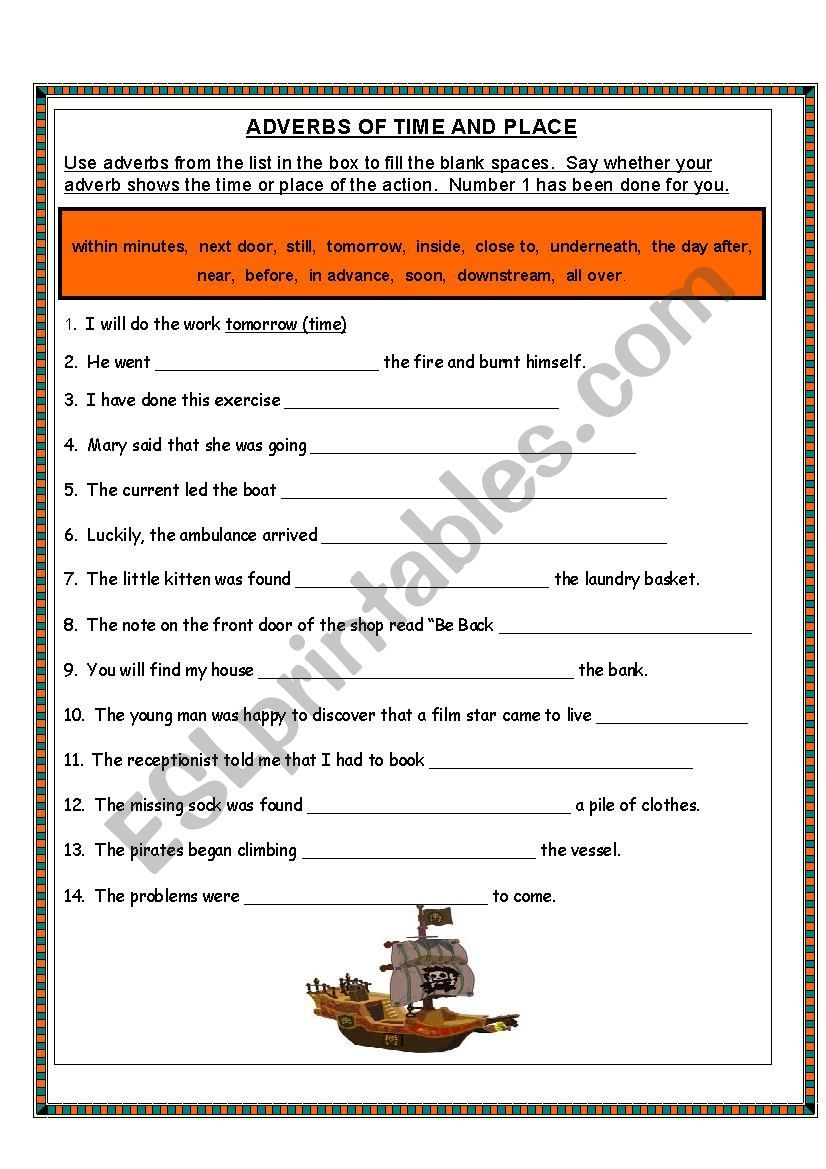 Adverbs of Time and Place ESL worksheet by m.farvas in