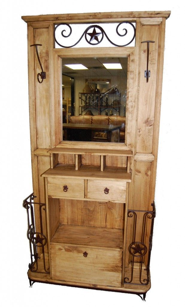 Hall tree w mirror great western furniture company home decor pinterest western Pinterest home decor hall
