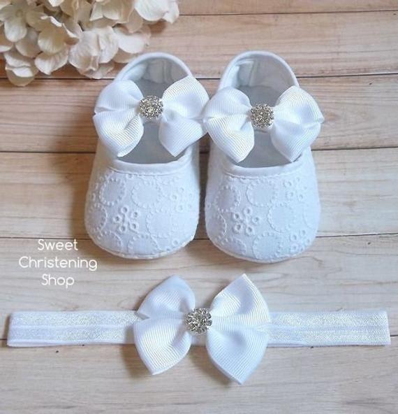 Baby Girl White Christening Baptism Shoes Cross Satin Flower Headband