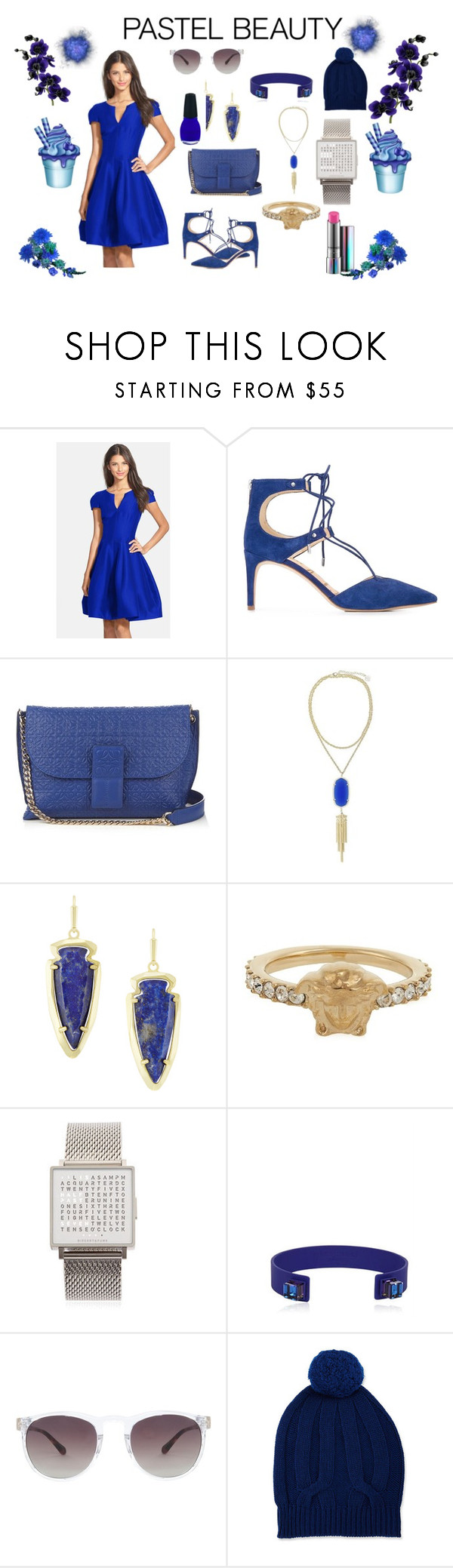 """Blue beauty"" by jamuna-kaalla ❤ liked on Polyvore featuring Halston Heritage, Sam Edelman, Loewe, Kendra Scott, Versace, QLOCKTWO, HIRSCHELL, Linda Farrow, Neiman Marcus and vintage"