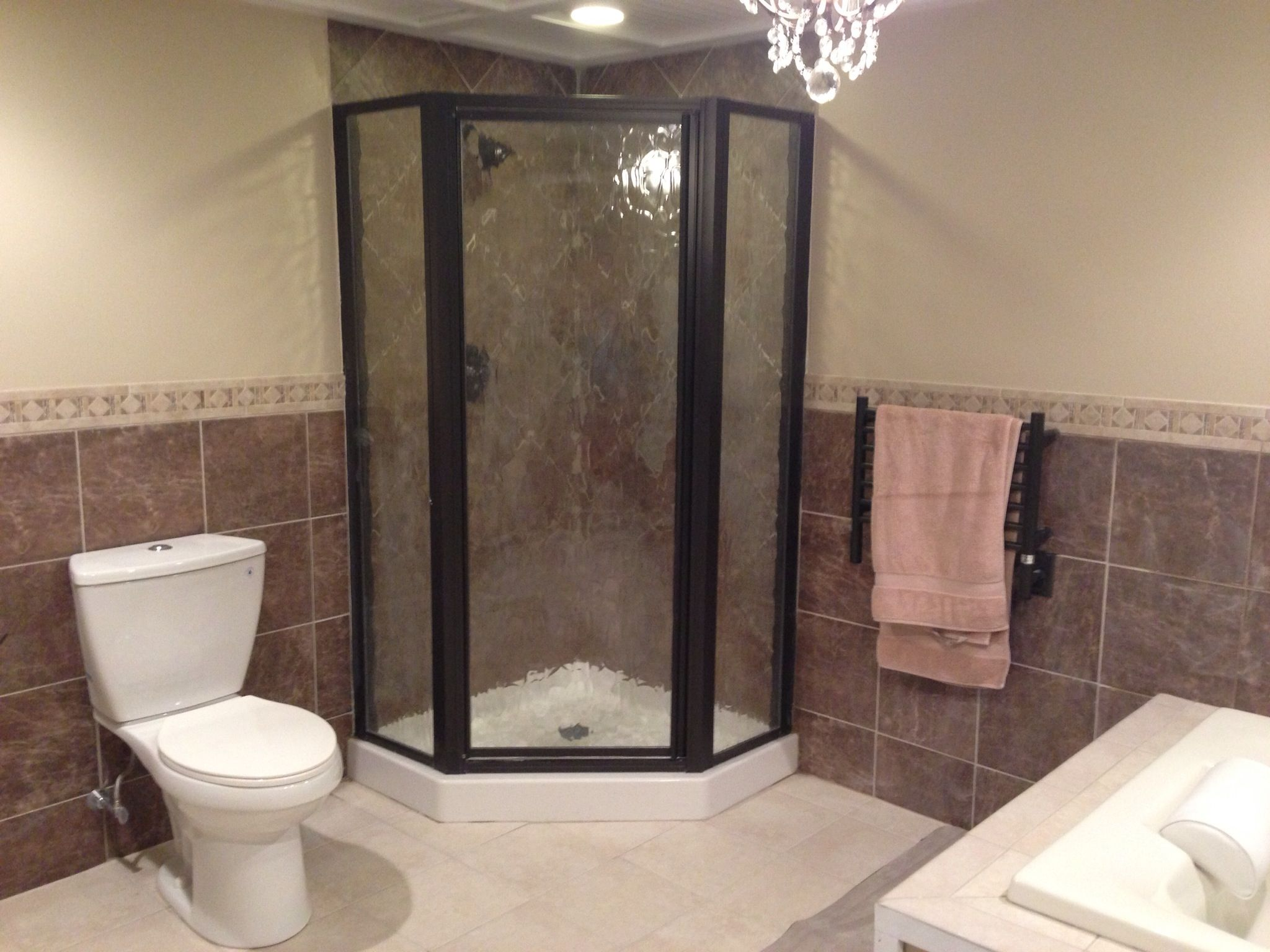 Stand up shower bathroom decorating pinterest stand for Basement bathroom tile ideas
