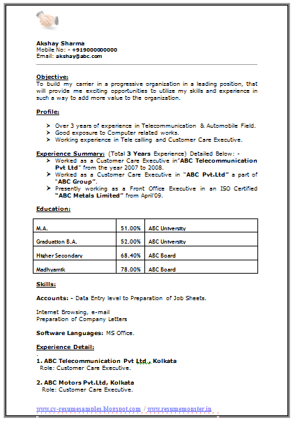 Professional Curriculum Vitae Resume Template For All Job Seekers Sample Template Of An Excellent Ba Ma Experien Resume No Experience Resume Format Resume